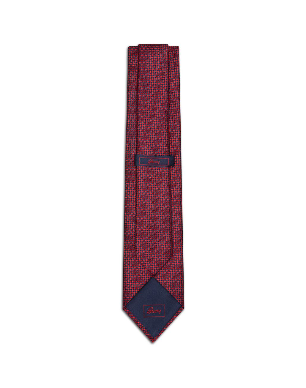 BRIONI Red and Blue Navy Micro-Design Tie Tie [*** pickupInStoreShippingNotGuaranteed_info ***] r