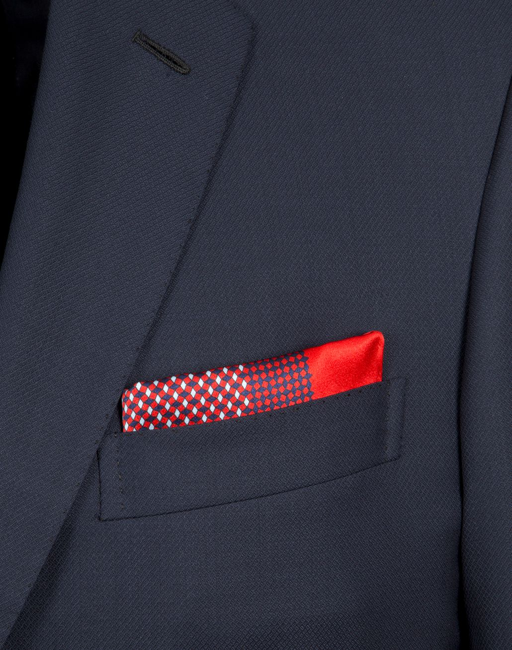 BRIONI Red and Navy Blue Micro-Designed Pocket Square Pocket Square Man d