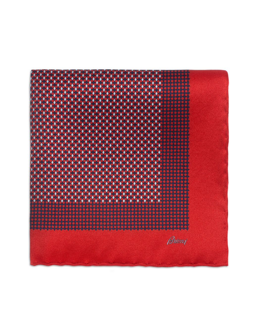 BRIONI Red and Navy Blue Micro-Designed Pocket Square Pocket Square Man r