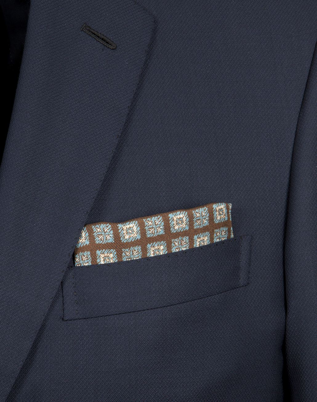 BRIONI Brown and Sky Blue Macro Designed Pocket Square Pocket Square [*** pickupInStoreShippingNotGuaranteed_info ***] d