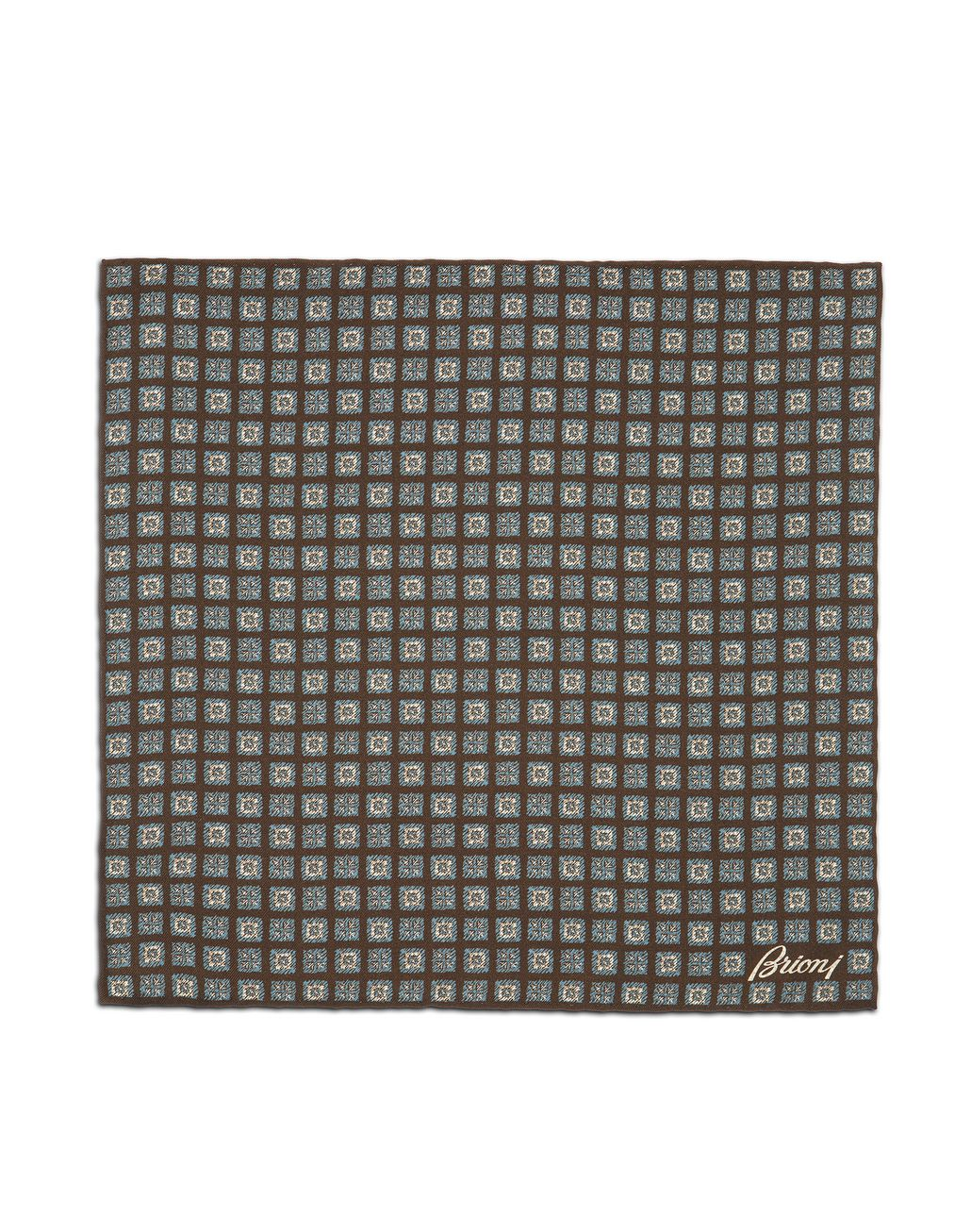 BRIONI Brown and Sky-Blue Macro Design Pocket Square Pocket Square [*** pickupInStoreShippingNotGuaranteed_info ***] f