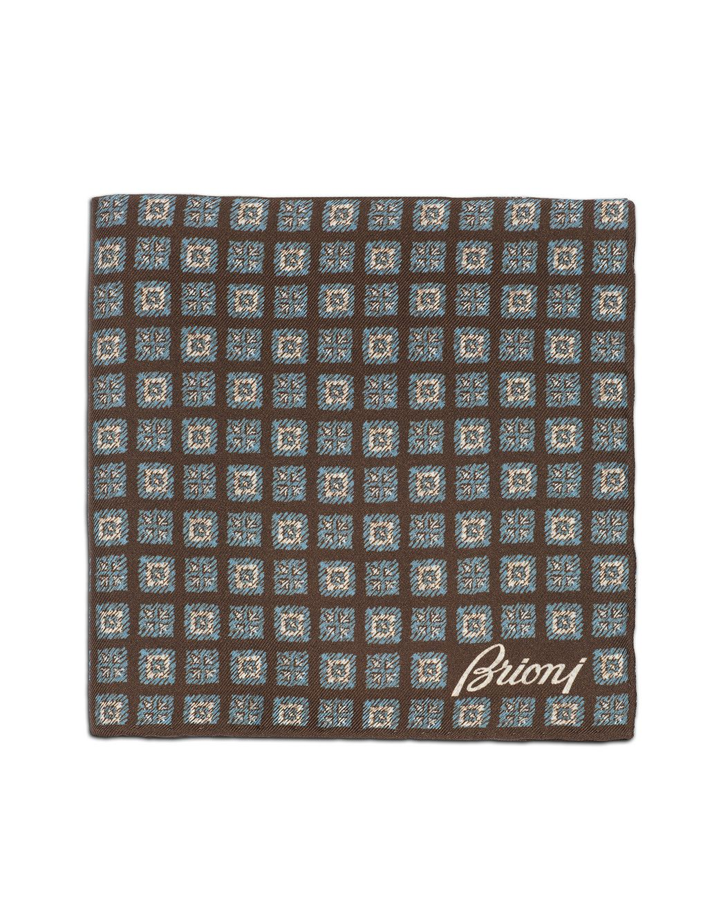 BRIONI Brown and Sky Blue Macro Designed Pocket Square Pocket Square [*** pickupInStoreShippingNotGuaranteed_info ***] r