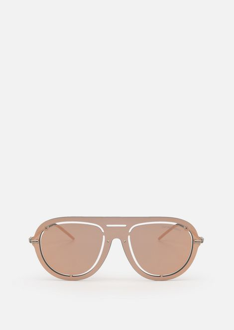 Laser-cut shield sunglasses