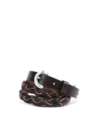 NAPAPIJRI PLAITED WOMAN BELT,DARK BROWN