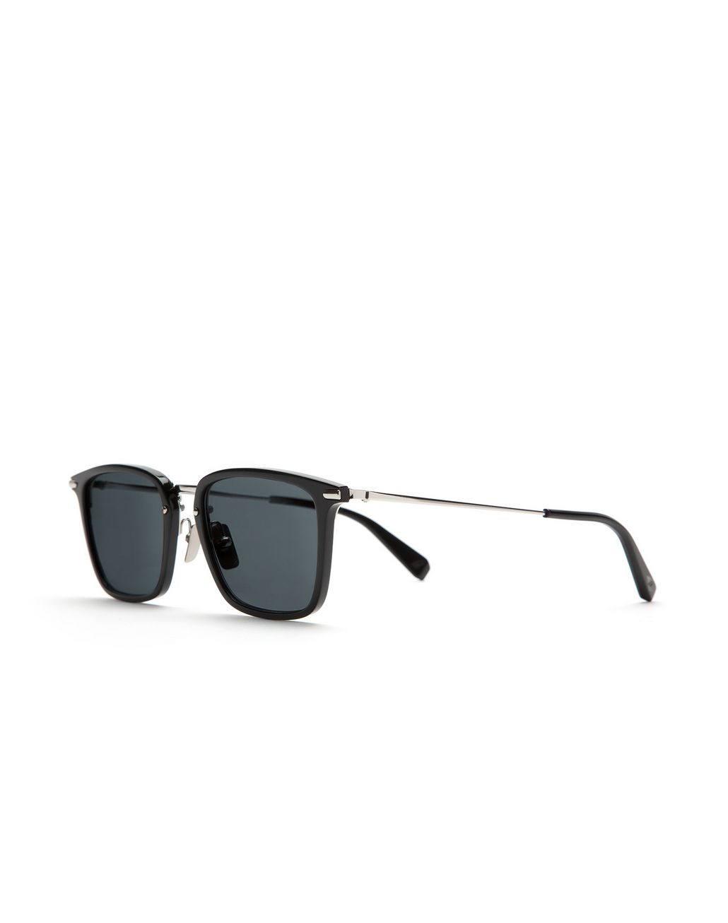 BRIONI Shiny Black Squared Sunglasses with Grey Lenses  Sunglasses Man r