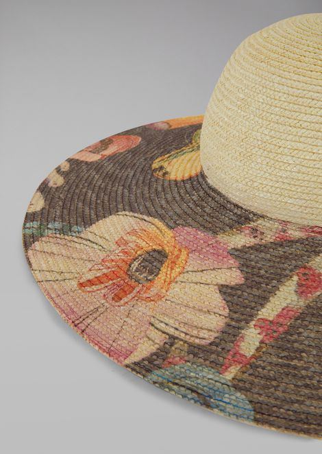 Straw hat with floral print