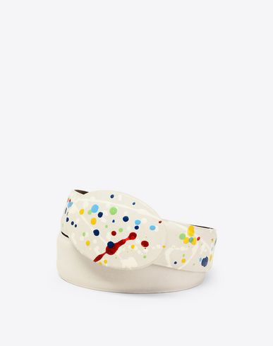 MAISON MARGIELA Belt Man Paint-drop calfskin belt f