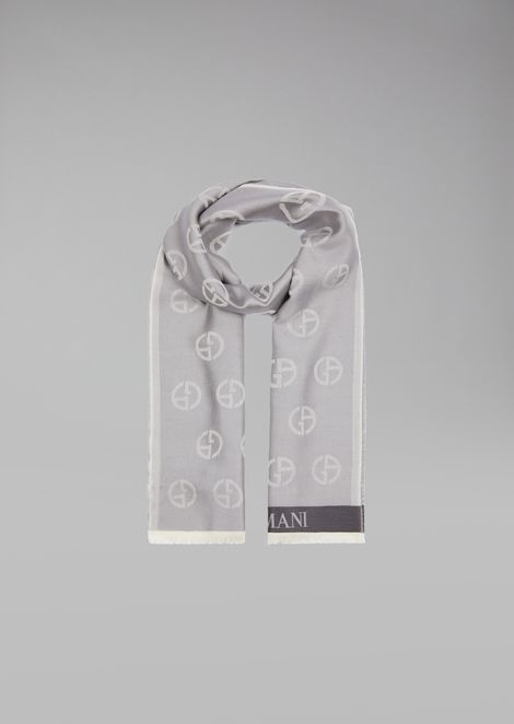 Silk and cotton scarf with logos