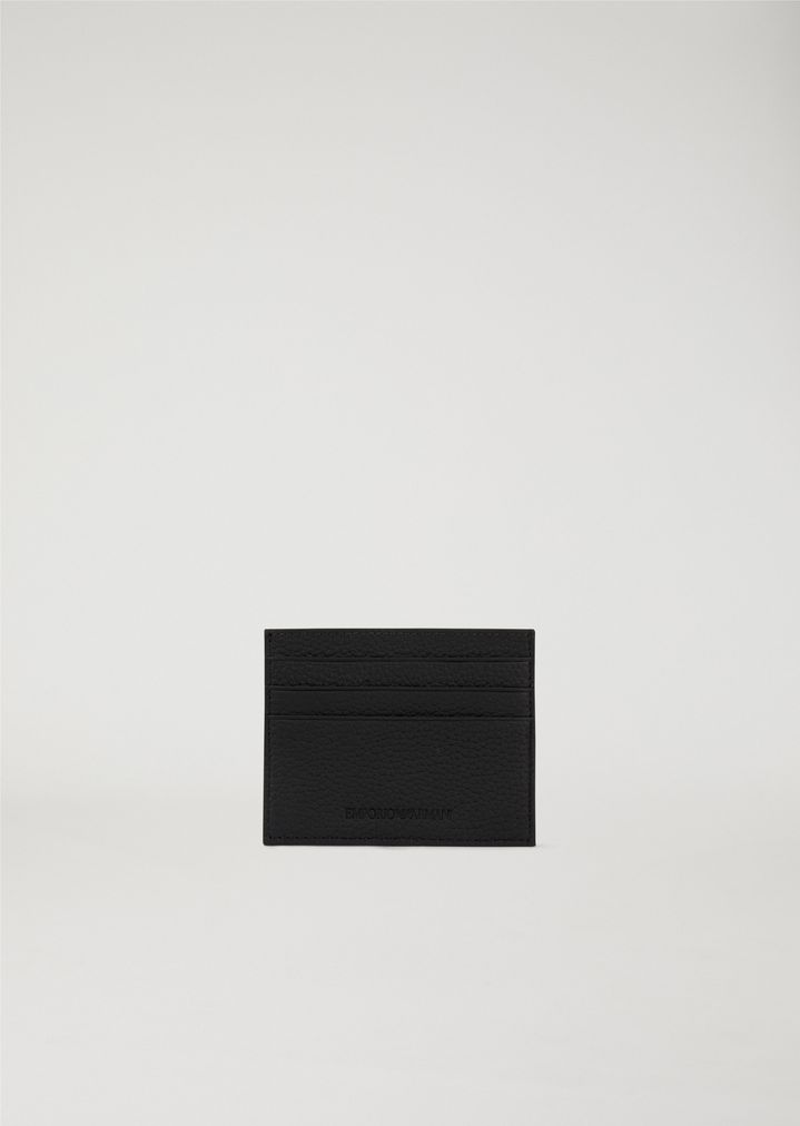 93a2643376 CARDHOLDER IN HAMMERED LEATHER | Man | Emporio Armani