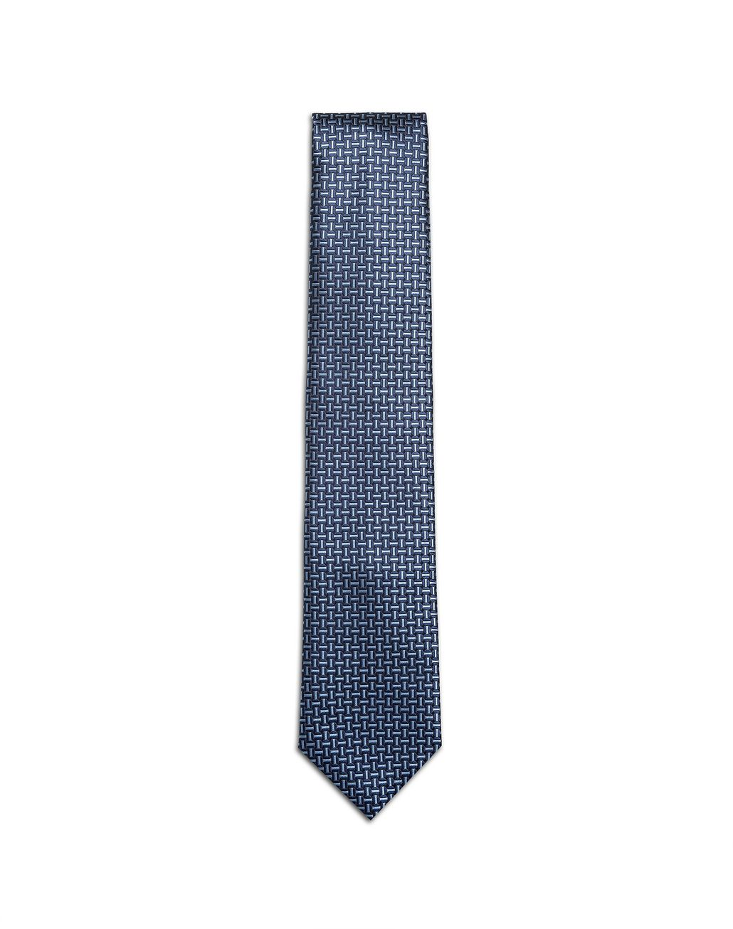 BRIONI Navy Blue and Bluette Macro Designed Tie Tie Man f