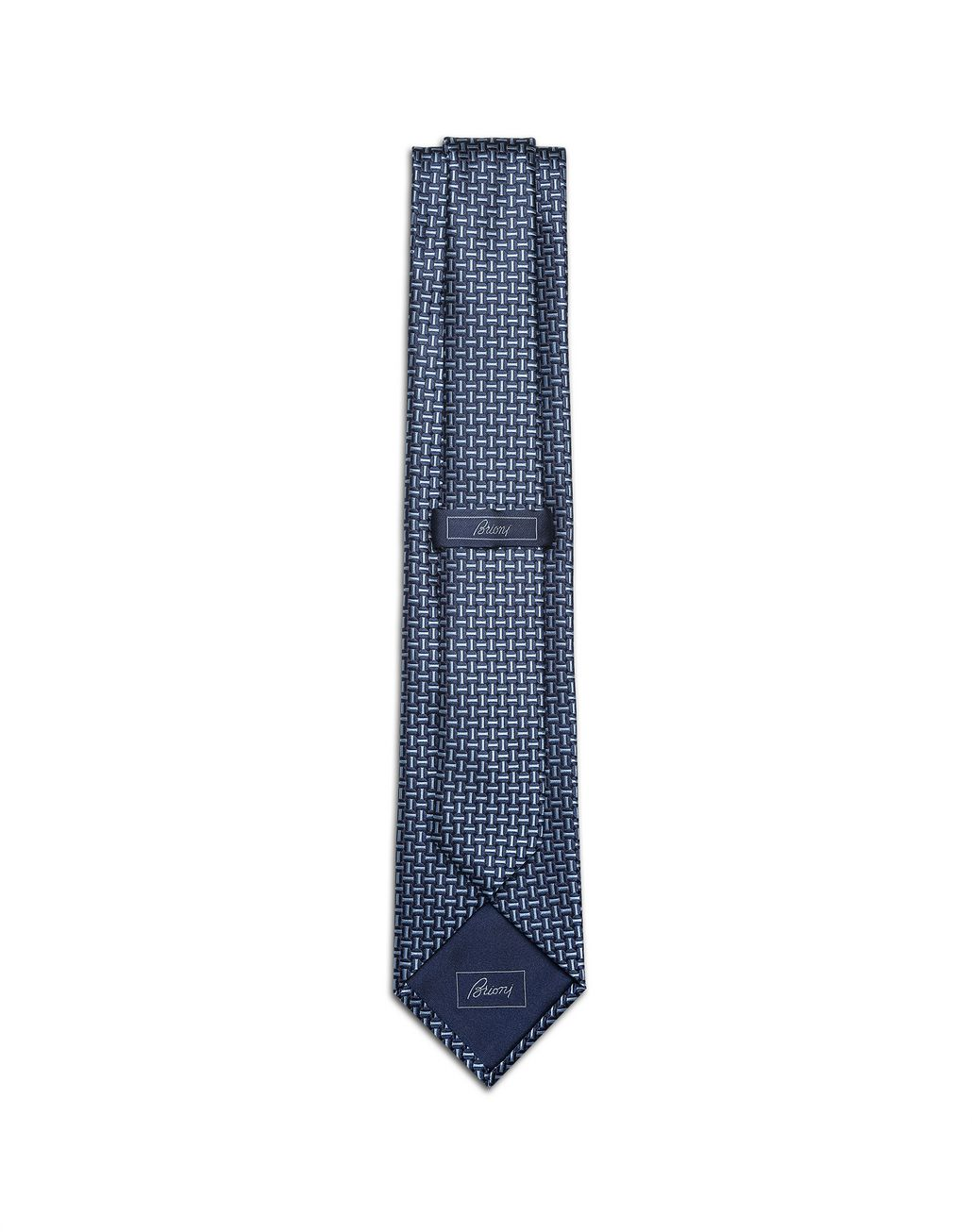 BRIONI Navy Blue and Bluette Macro Designed Tie Tie Man r