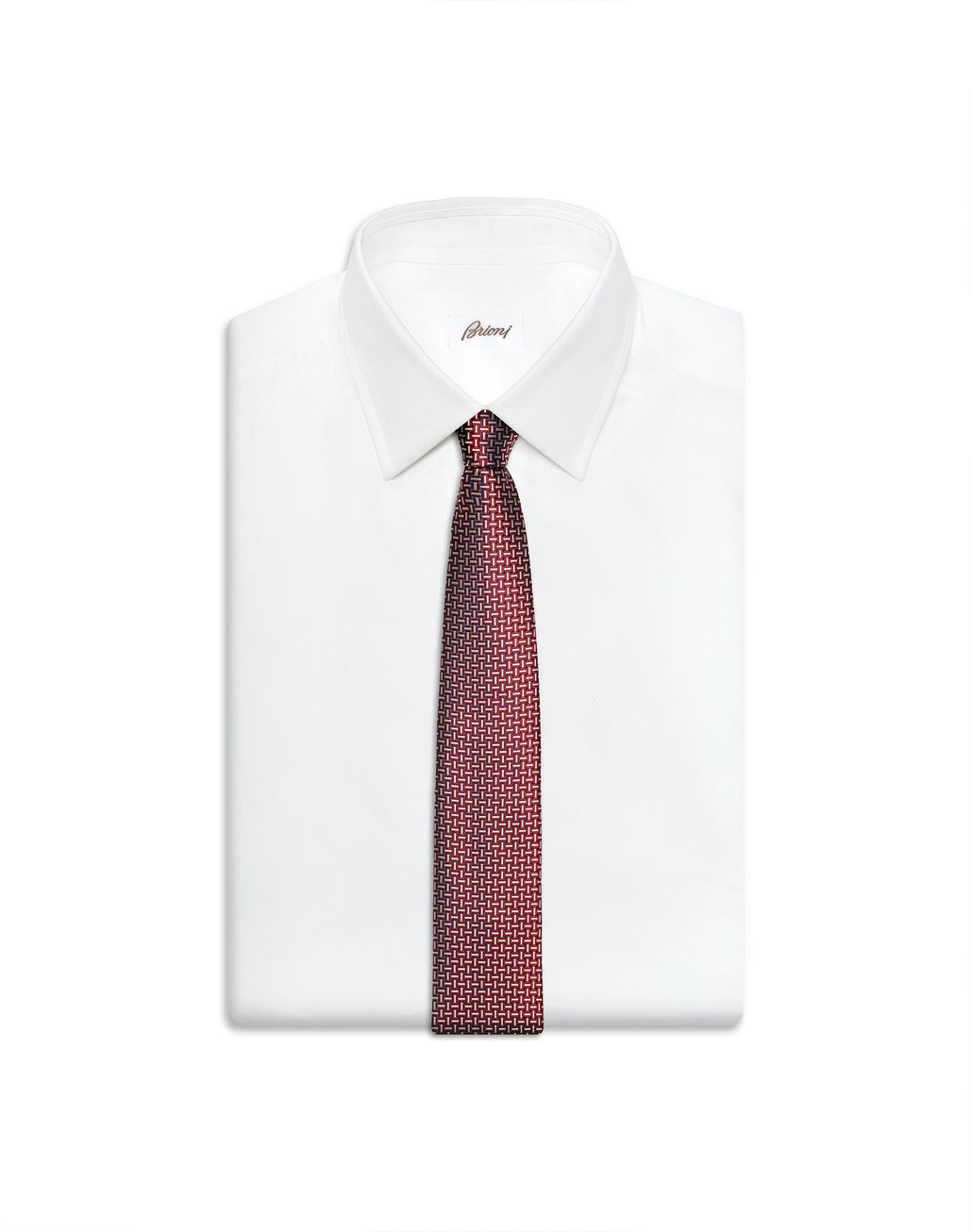BRIONI Bordeaux and Ivory Designed Tie Tie Man e