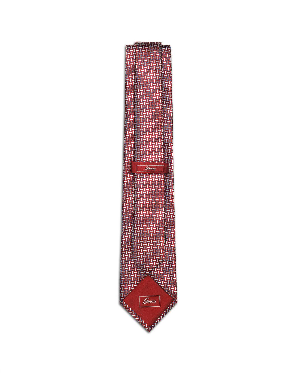 BRIONI Bordeaux and Ivory Designed Tie Tie Man r