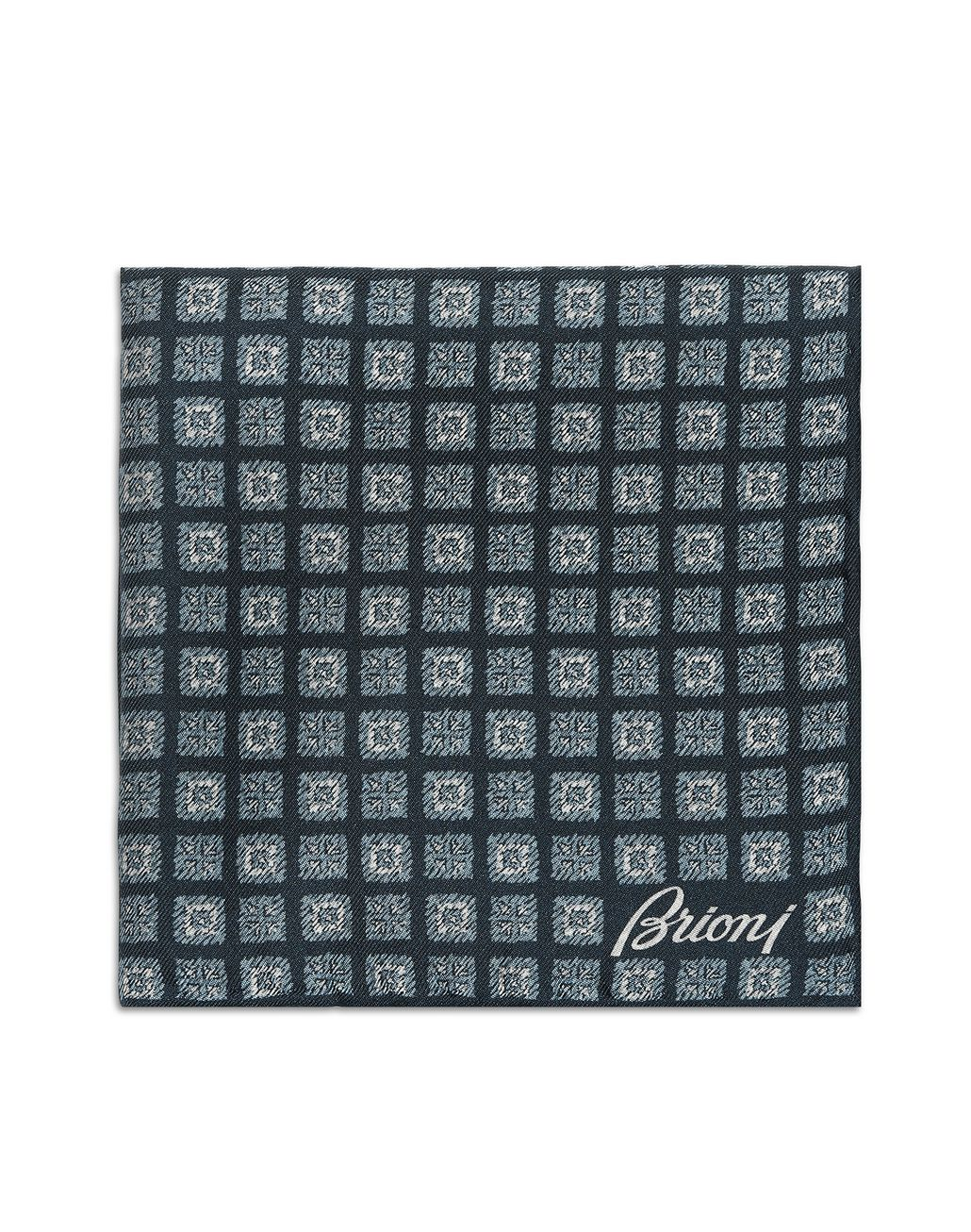 BRIONI Navy-Blue and Sky-Blue Macro Design Pocket Square Pocket Square Man r