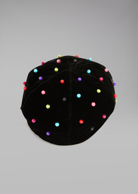 GIORGIO ARMANI Velvet beret with beads Beanie D r