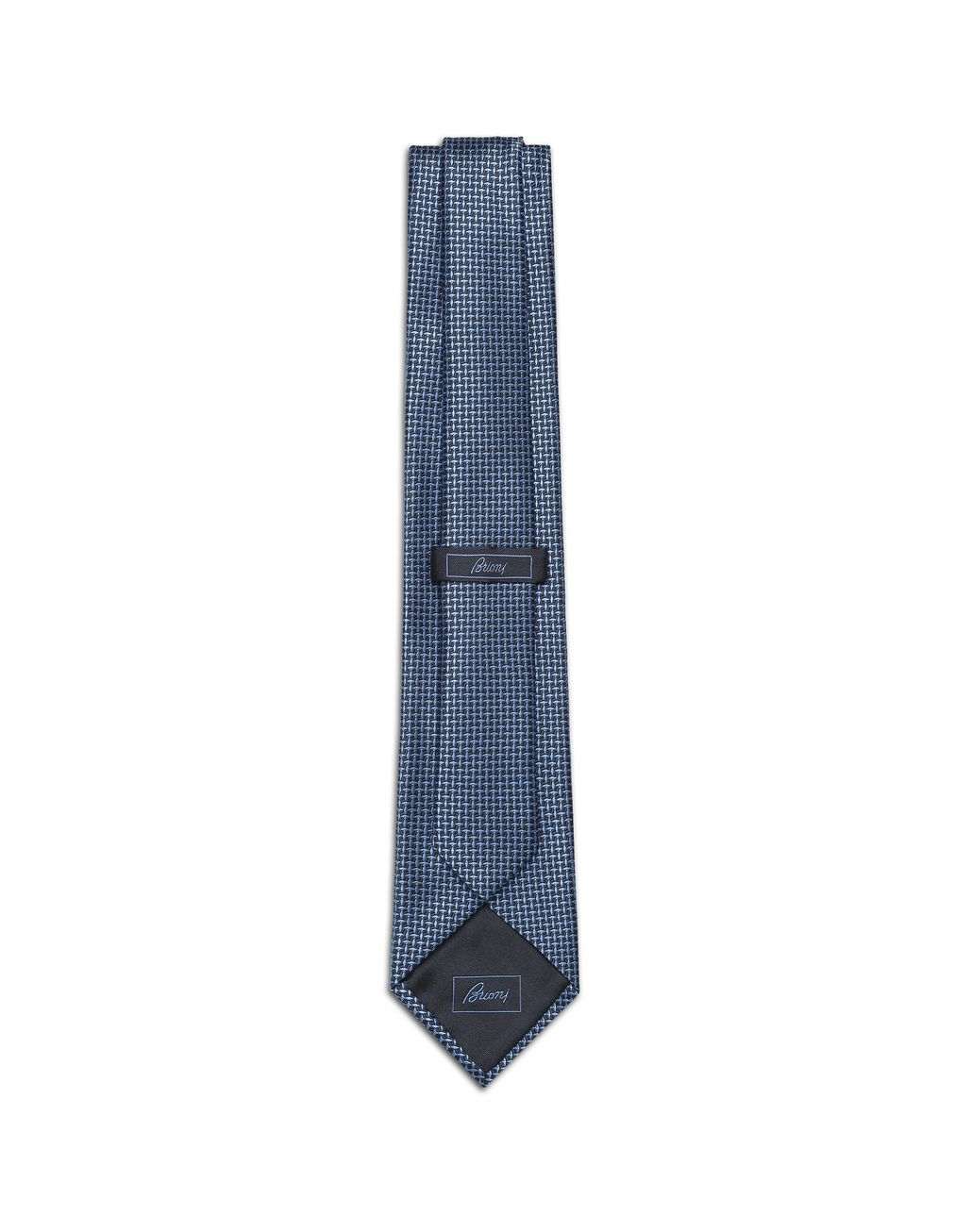 BRIONI Bluette and Navy Blue Micro Designed Tie Tie [*** pickupInStoreShippingNotGuaranteed_info ***] r