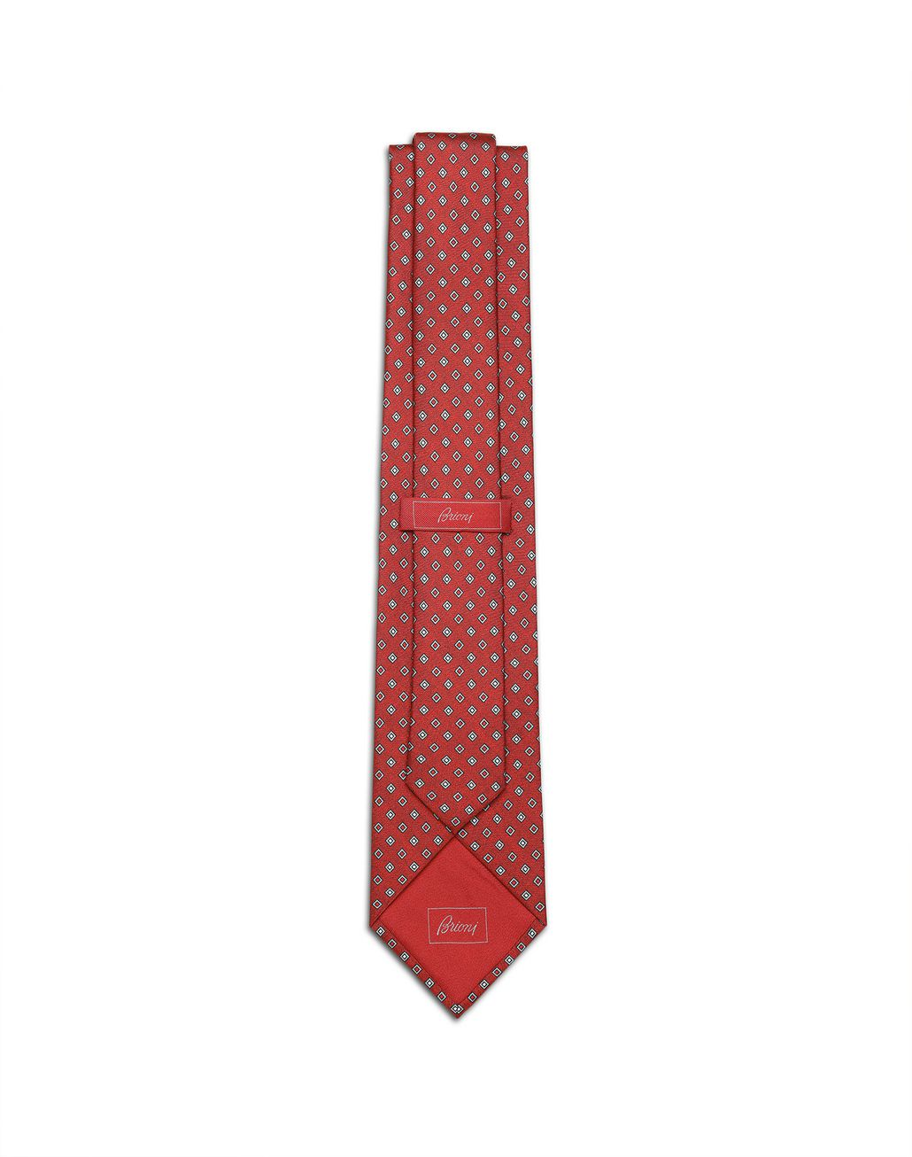 BRIONI Red and Grey Micro Designed Tie Tie Man r