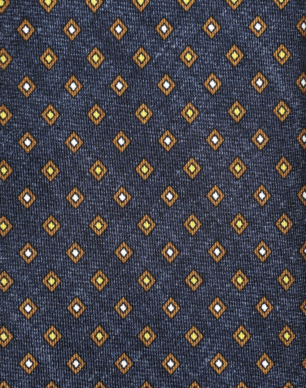 BRIONI Navy Blue and Mustard Micro Designed Tie Tie Man d