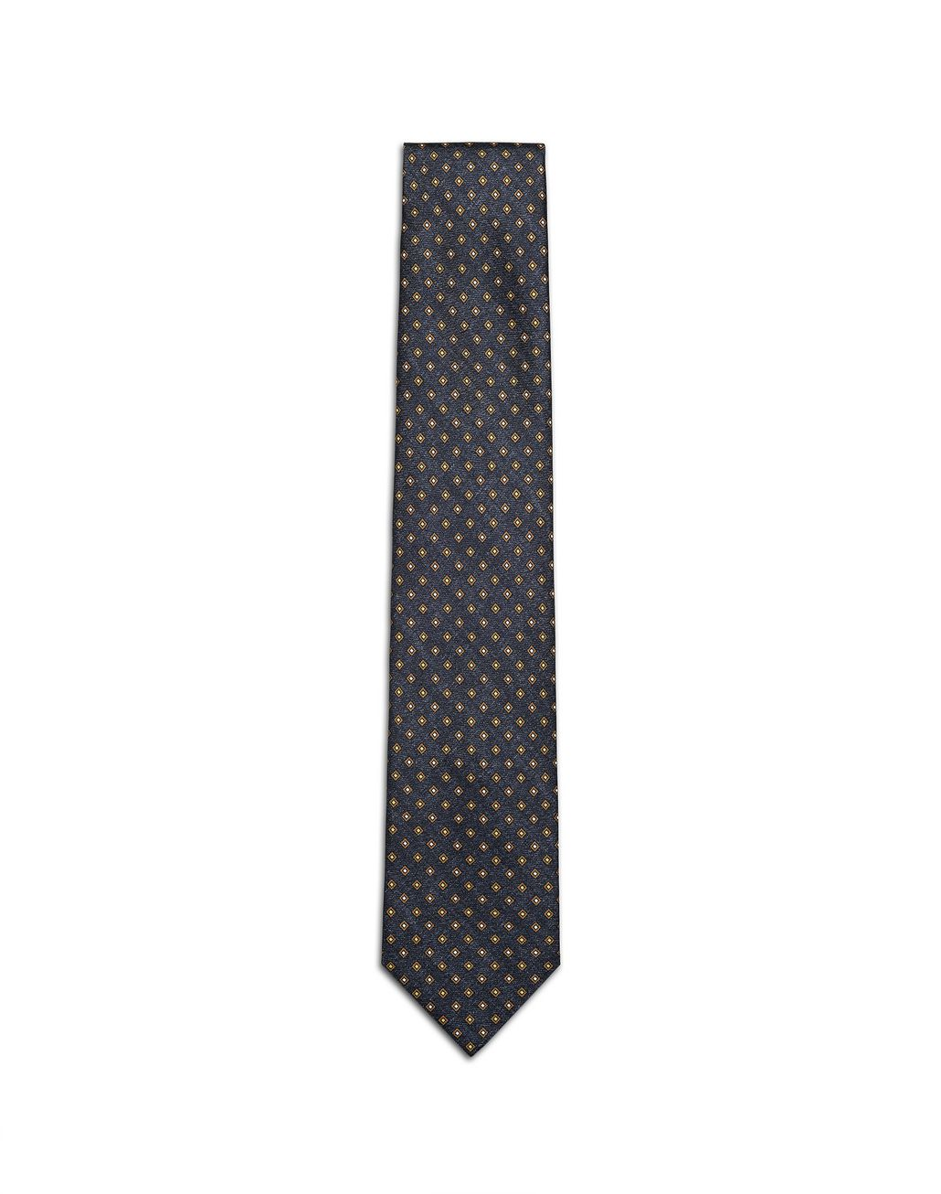 BRIONI Navy Blue and Mustard Micro Designed Tie Tie Man f