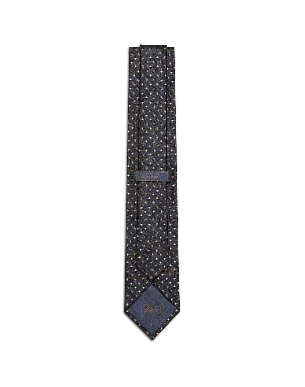 BRIONI Navy Blue and Mustard Micro Designed Tie Tie Man r