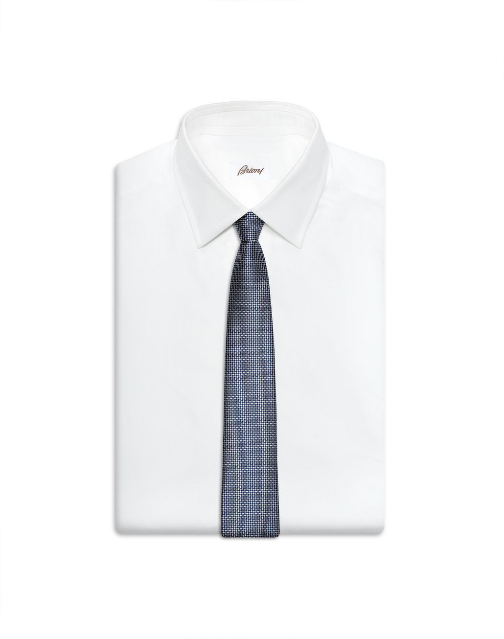 BRIONI White and Bluette Micro Designed Tie Tie Man e