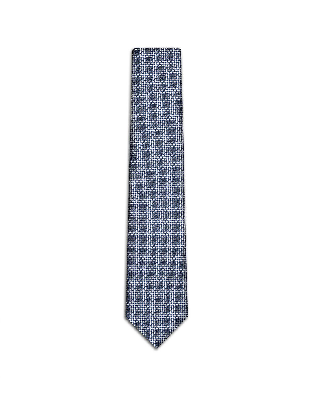 BRIONI White and Bluette Micro Designed Tie Tie Man f
