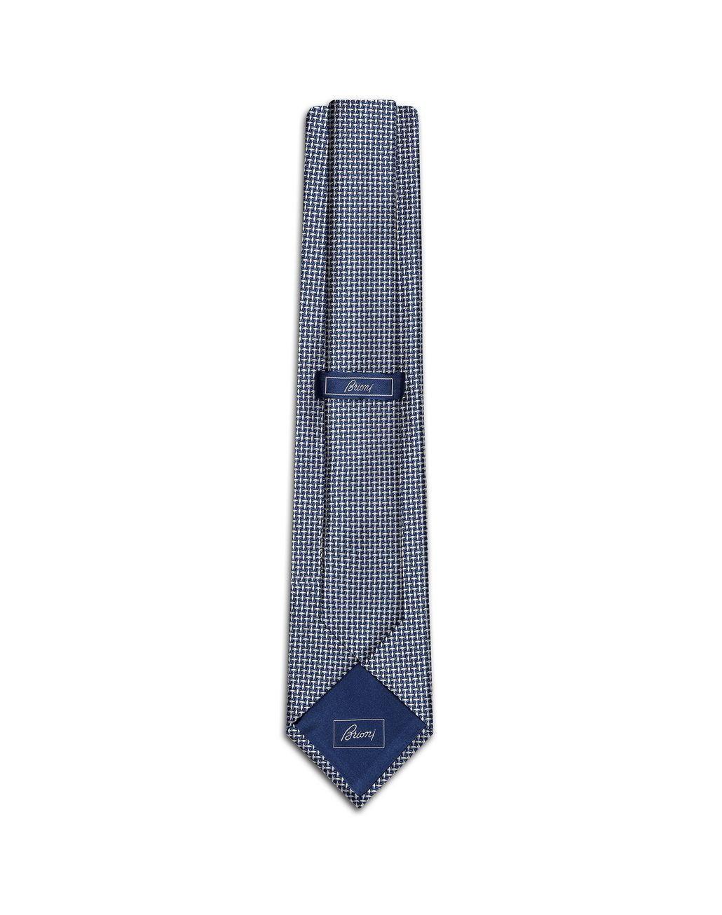 BRIONI White and Bluette Micro Design Tie Tie Man r
