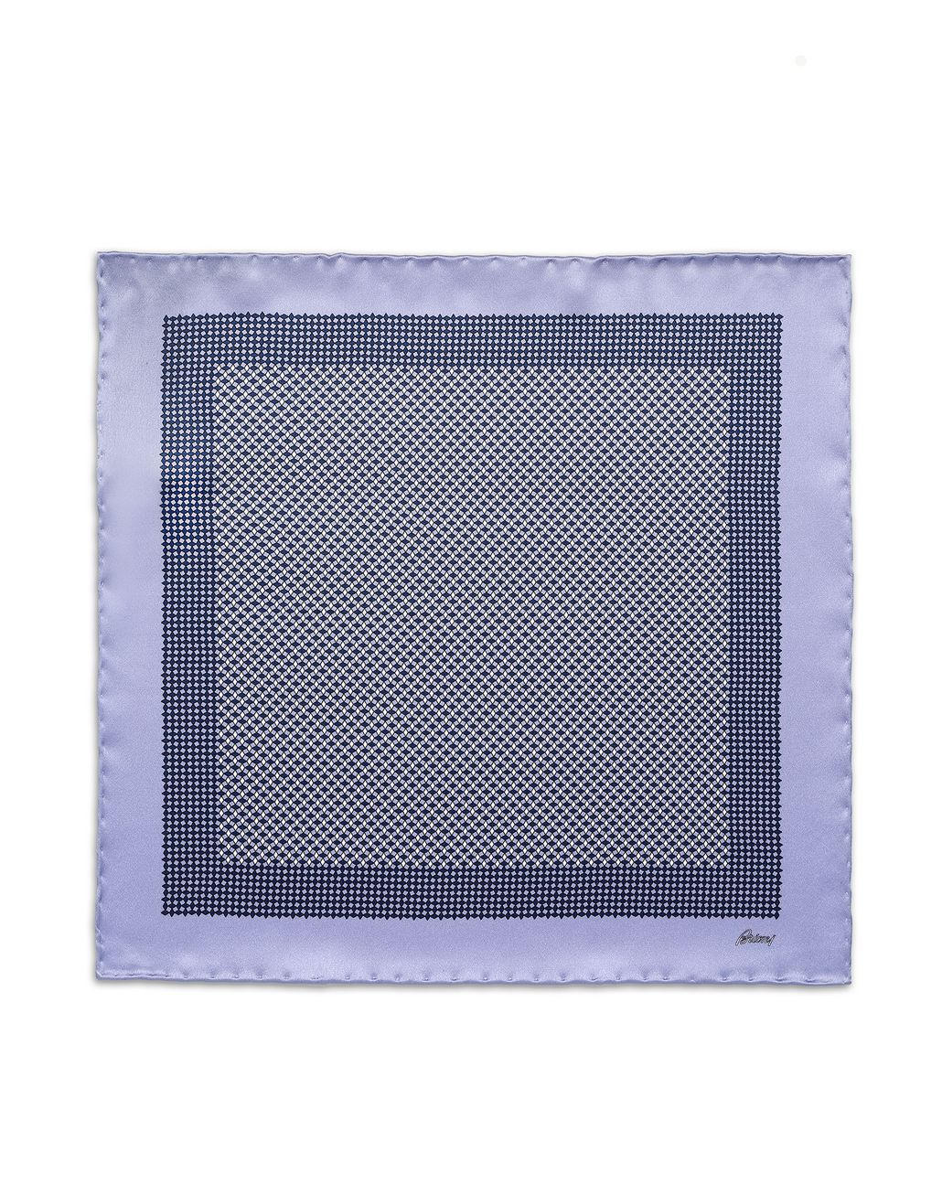 BRIONI Lilac and Navy Blue Micro-Designed Pocket Square Pocket Square [*** pickupInStoreShippingNotGuaranteed_info ***] f