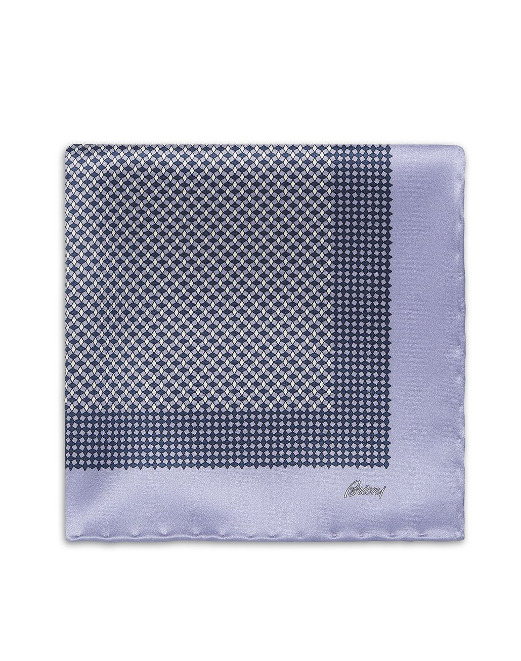 BRIONI Lilac and Navy Blue Micro-Designed Pocket Square Pocket Square Man r