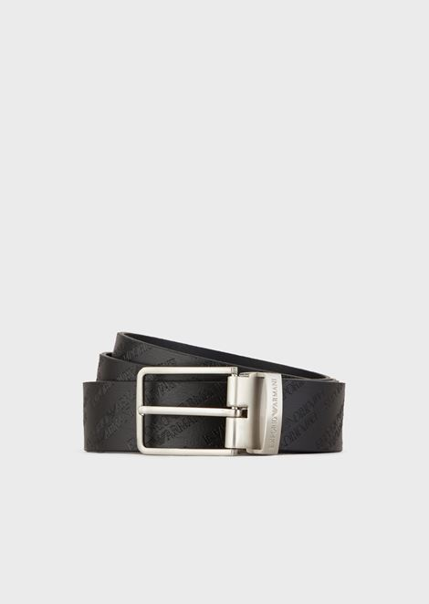 Leather belt with all-over embossed logo