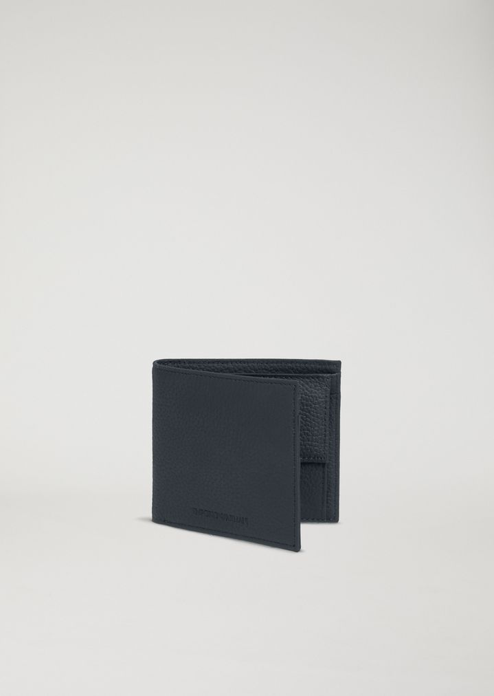 b04d3249c7 HAMMERED LEATHER BIFOLD WALLET | Man | Emporio Armani