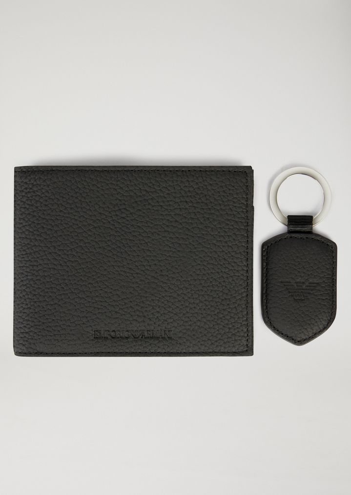 56aaa0af7df3 HAMMERED LEATHER WALLET AND KEYRING GIFT SET | Man | Emporio Armani