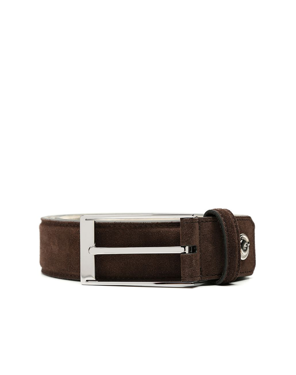BRIONI Chocolate Adjustable Belt in Velour Belt Man r