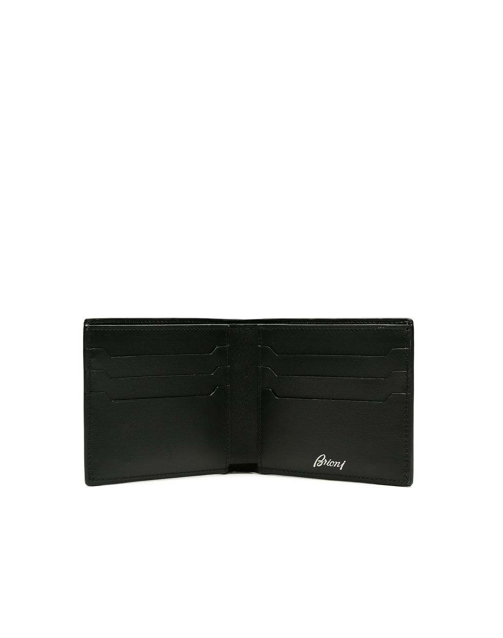 BRIONI Blue and Black Slim Calfskin Wallet Leather Goods Man r