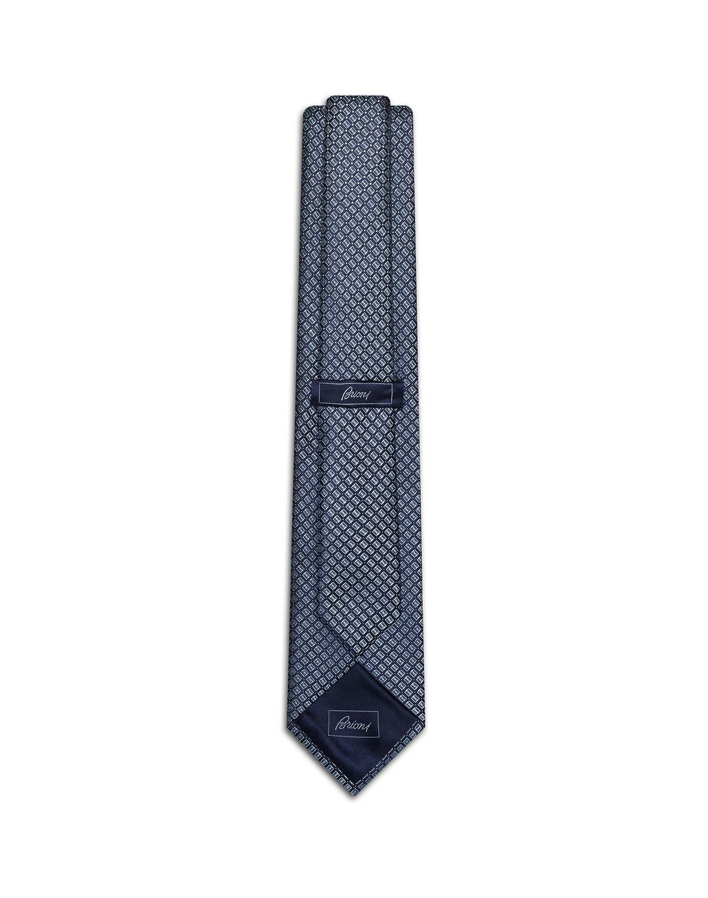 BRIONI Navy Blue and Bluette Designed Tie Tie [*** pickupInStoreShippingNotGuaranteed_info ***] r