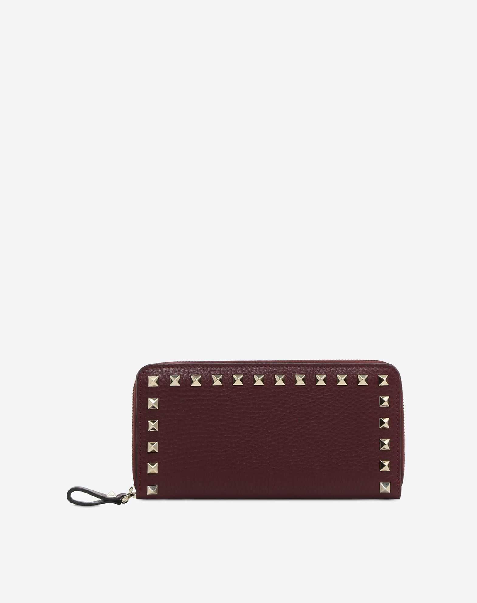 VALENTINO Textured leather Studs Zip Internal card slots  46562287wm