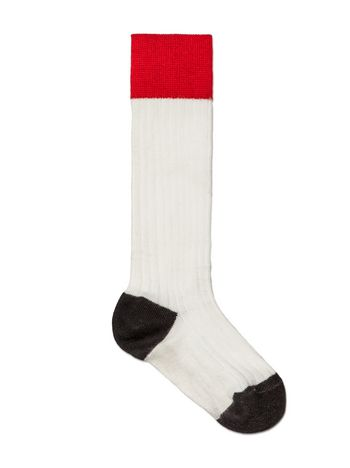 Marni SOCKS IN WHITE RIBBED COTTON Woman