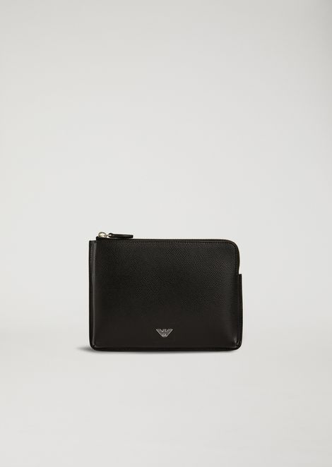 Organizer in boarded print leather