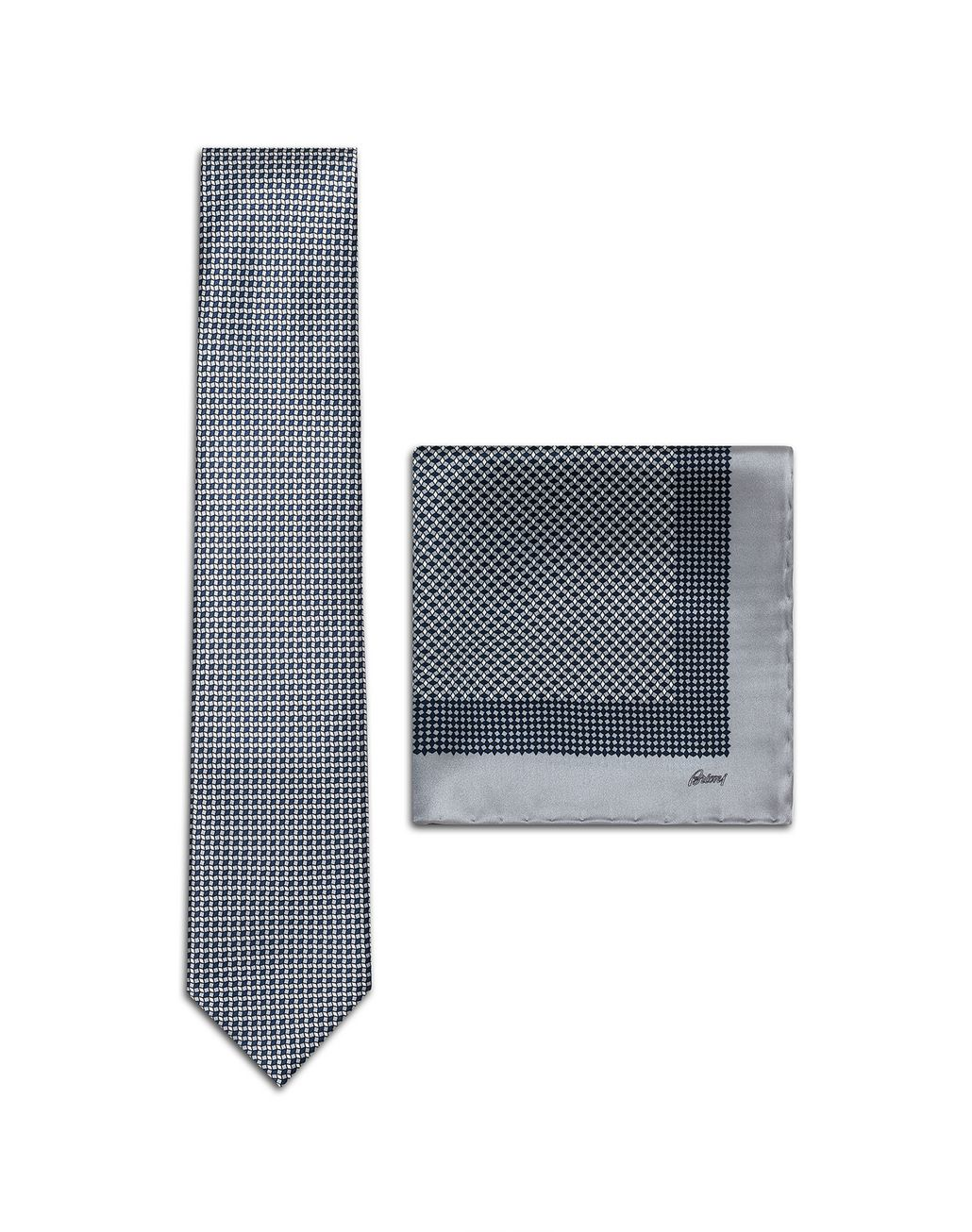 BRIONI Gray and Navy-Blue Micro-Design Tie Set Tie & Pocket Square Man f