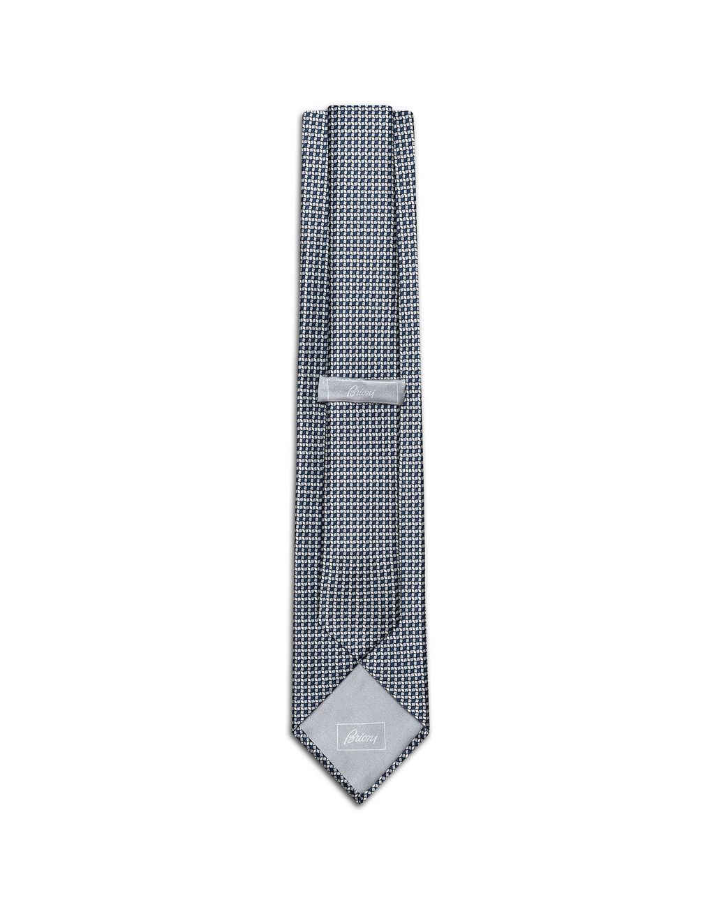 BRIONI Gray and Navy-Blue Micro-Design Tie Set Tie & Pocket Square Man r