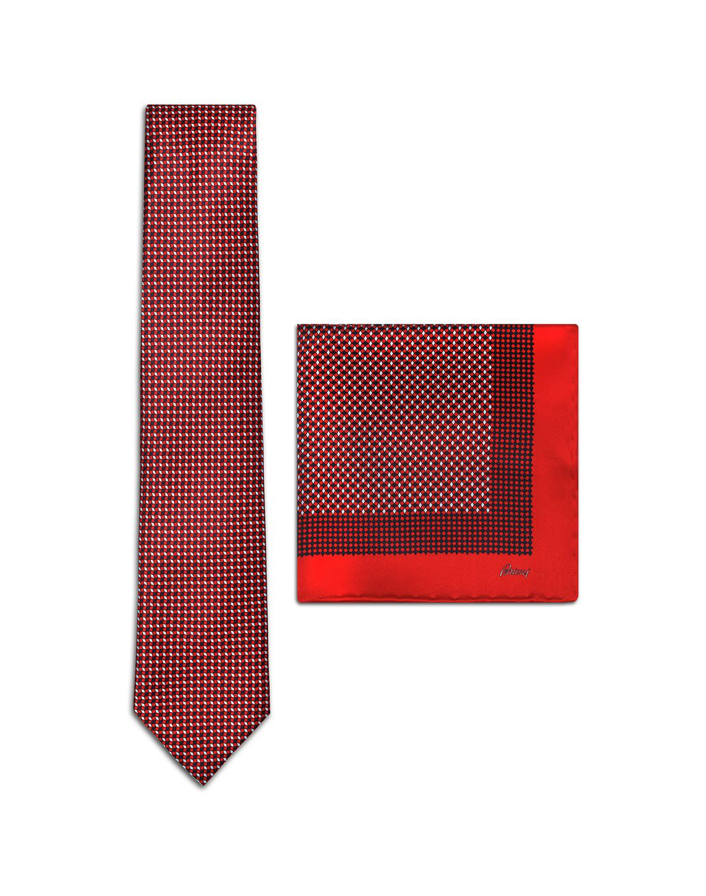 BRIONI Red and Navy Blue Micro-Designed Tie Set Tie & Pocket Square Man f