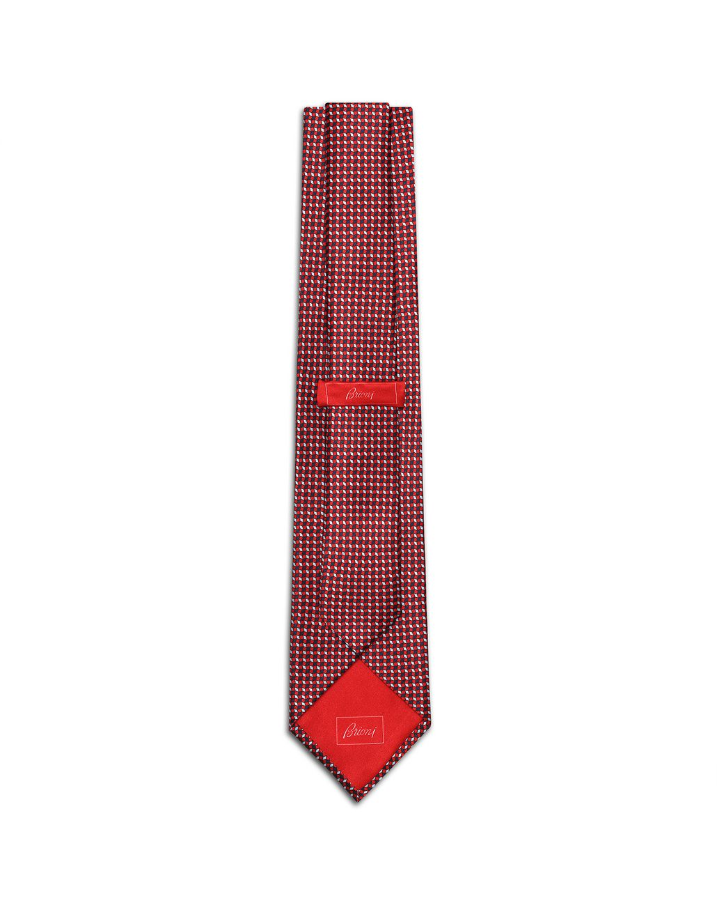 BRIONI Red and Navy Blue Micro-Designed Tie Set Tie & Pocket Square Man r