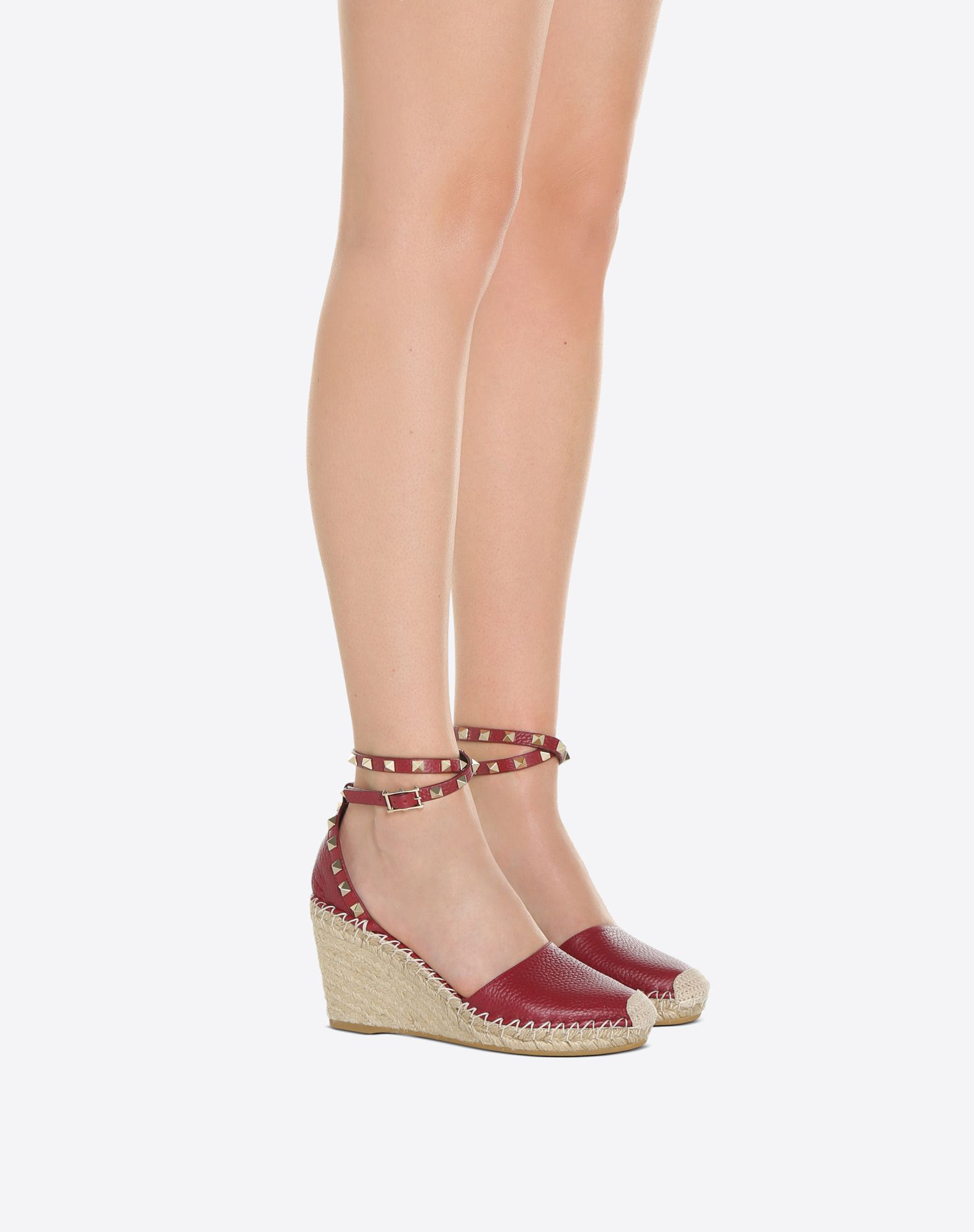 VALENTINO Studs Buckling ankle strap closure Solid color Leather lining Rope wedge Round toeline Rubber sole Textured leather  46563722sl
