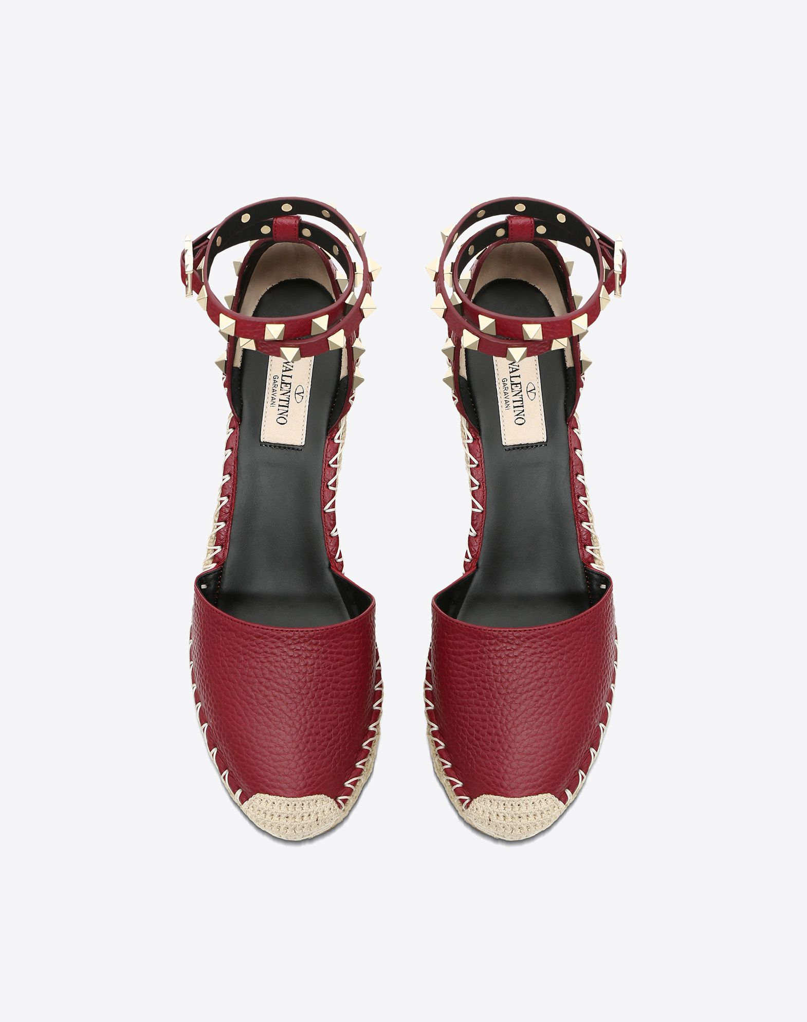 VALENTINO Studs Buckling ankle strap closure Solid colour Leather lining Rope wedge Round toeline Rubber sole Textured leather  46563722sl