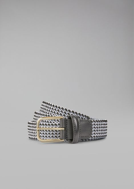 Woven Belt with Leather Details