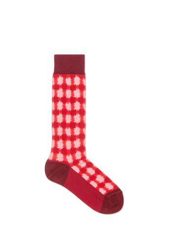 Marni Sock in cotton jacquard vichy pale red Woman