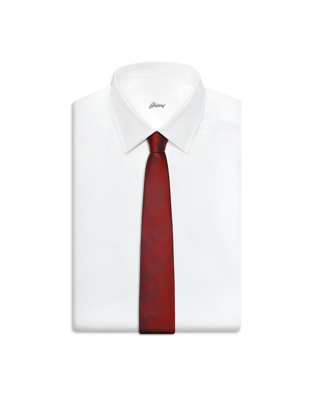 BRIONI Limited Edition Red Micro-Design Tie Tie Man e