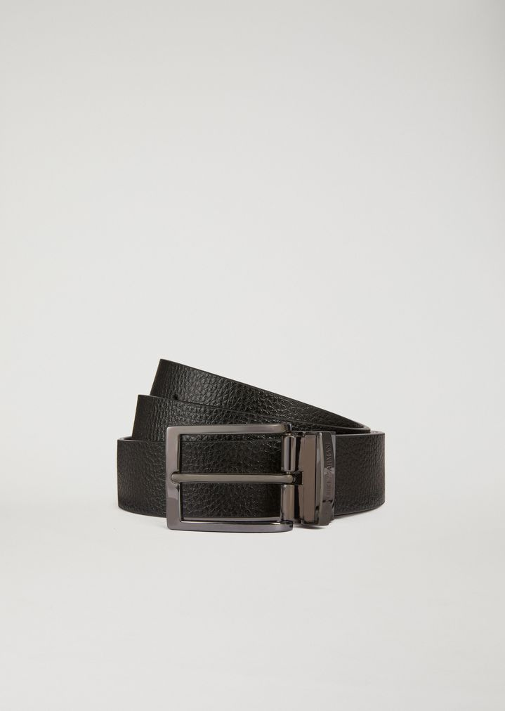 879378676d Reversible belt in hammered and smooth leather