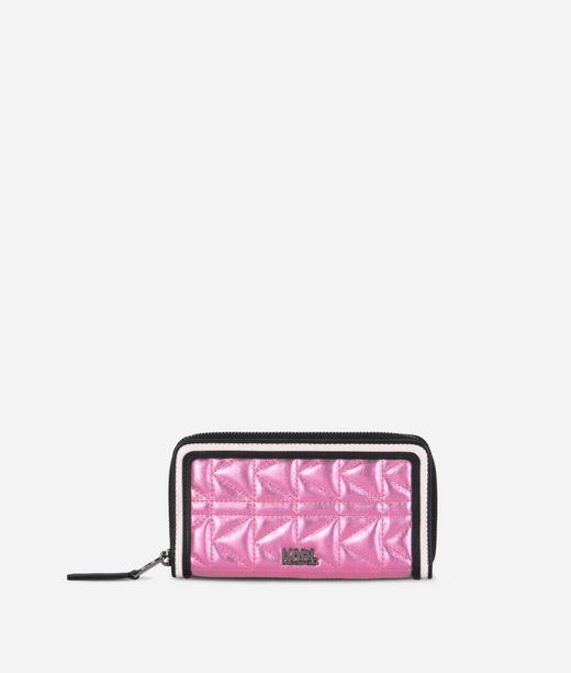 KARL LAGERFELD K/Kuilted Pink Zip Wallet 12_f