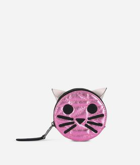 KARL LAGERFELD K/KUILTED PINK CAT COIN PURSE